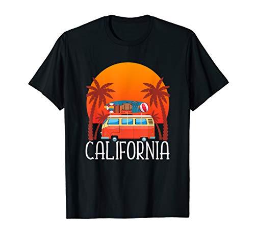 California T-Shirt Surfer Surfboard Surfing Sunset Van Shirt -