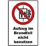 Schild Aufzug im Brandfall Nicht benutzen Schild Verbotszeichen Mehrfarbig 30 x 20 x 0,3 cm Hartschaumplatte