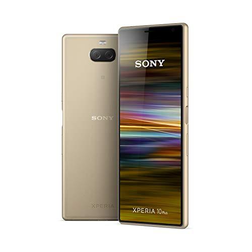 Sony Xperia 10 Plus - Smartphone de 6,5' Full HD+ 21:9 CinemaWide (Octa-Core de 1,8 Ghz, 4 GB de RAM, 64 GB de ROM, cámara dual de 12+8 MP, Android P, Dual Sim), Color Dorado [Versión española]