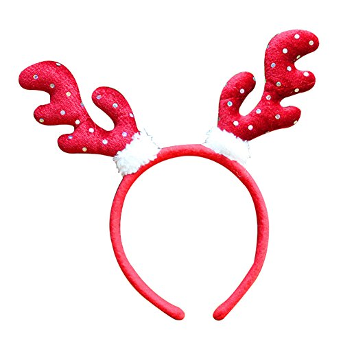 Mflbefulmel Kinder Erwachsene Rentier-Geweih Stirnband Weihnachten Party Kostüm Hirsch Horn Stirnband Halloween Stirnband Kostüm Geweih Haarband für Weihnachten Ostern Party Haarband Red-Antlers