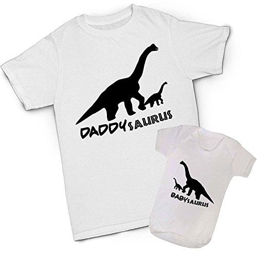 Babysaurus Daddysaurus Baby Dad Set mit Passendem T-Shirt Vater Sohn Weiß Weiß Mens Medium + 3-6 Months Baby -