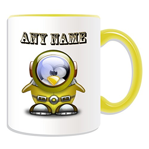 Kostüm Astronaut Girl - Personalisiertes Geschenk-Astronaut Tasse (Pinguin in Kostüm Design Thema, Farbe Optionen)-alle Nachricht/Name auf Ihre einzigartige-Platz, keramik, gelb
