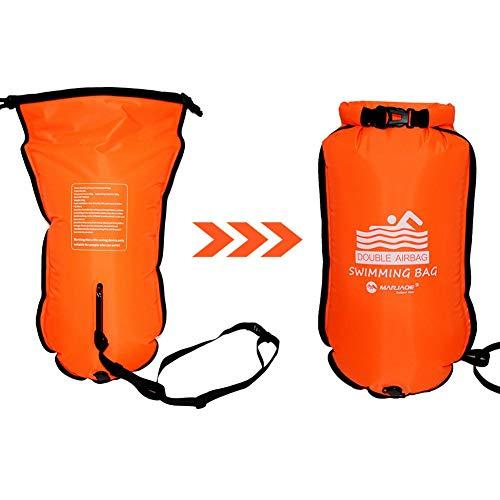 Doble flotante Airbags Swim Buoy Safety Tow Float, adultos inflables Snorkeling Airbags, Swim Boya para buceo Natación Seguridad Anti-ronquidos Almacenamiento Desgarro Nylon PVC Engrosado Desgaste