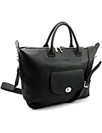 Bovari XL sac bandoulière / sac porté épaule / sac business femme en cuir Model Marlene 32 - 48x31x12 cm - noir