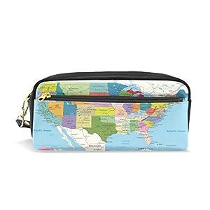 Zzkko Education USA Map Cuir Fermeture Éclair Trousse Stylo papeterie Sac Cosmétique Maquillage Sac pochette Sac à main