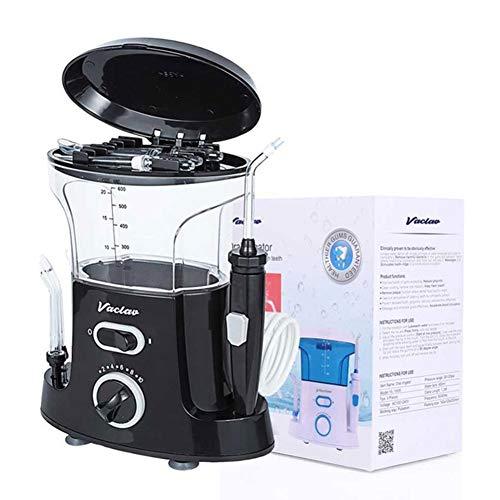 JMung'S Munddusche Oral Wasserreiniger Elektrischer Oral Irrigator IPX7 Wasserdicht Zahnbürste Kabellos Wasser Flosser 600ML Wassertank 6 Düsen und Zungenreiniger,Black