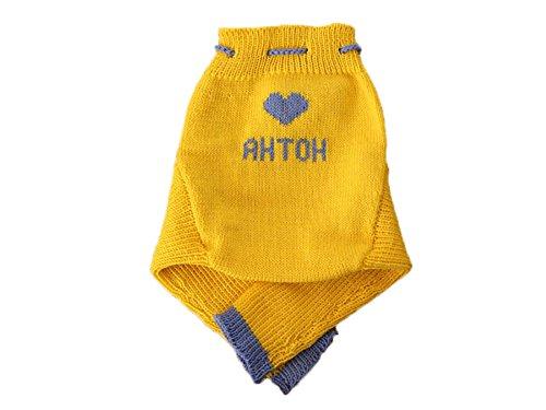 Personalisiert 100% Merino Wolle Baby Wollwindelhose Überhosen Longies Soaker gestrickt Maßgeschneidert L Yellow-Sky blue