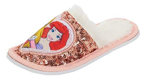 Disney - Pantuflas de Princesa con Lentejuelas y Forro Polar para niñas, Color Rosa, Talla 30 EU
