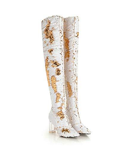 Stiefel Damen, Über Dem Knie, Hoher Absatz, Große Größe Kristall Pailletten Sexy Nachtclub Mode Schuhe,White,38 - Pailletten Knie-boot