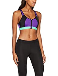 Iris & Lilly Women's Medium Impact Zip Front Sports Bra
