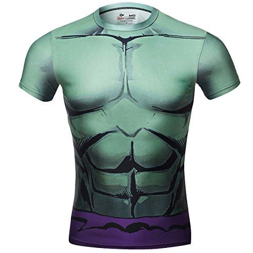 Cody Lundin Film-Superheld-Shirt (Riese) kurzärmeliges Herren-Fitness-Kompressions-Shirt, grün Gr�n Verde Gigante (Superhelden Shirts)