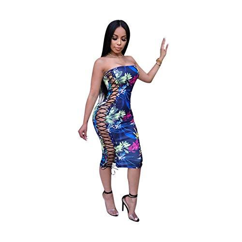 GROSIU& Women Off Shoulder floral Print Side lace up Bodycon Bandage Club Party Dress Dark Blue L -