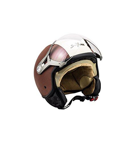 SOXON SP-325 Vintage · Cruiser Motorrad-Helm Scooter-Helm Vintage Helmet Biker Mofa Pilot Chopper Vespa-Helm Jet-Helm Bobber Roller-Helm...