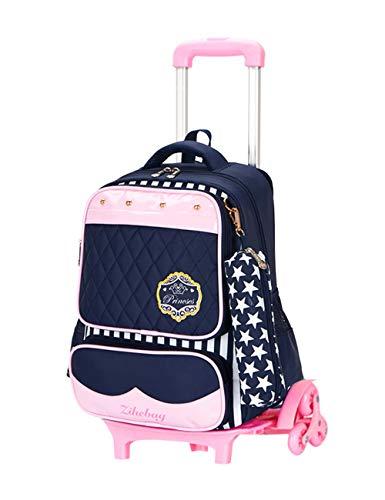 Bambini Impermeabile Trolley School Bag - Versatile Zaino con Ruote  Daypacks Con Tracolla Riflettente BESBOMIG b24d144123f