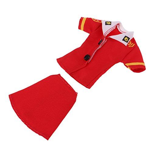 Homyl 2-teilig Elegante Puppenkleidung Stewardess Flugbegleiterin Uniform Set Für 30cm Barbie-Puppen - Rot