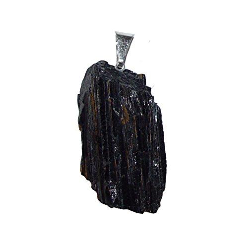 Turmalin schwarz- Schörl Anhänger Natur gewachsen und unbehandelt ca. 30 - 40 mm plus Oese. ca. 8 mm (4713)