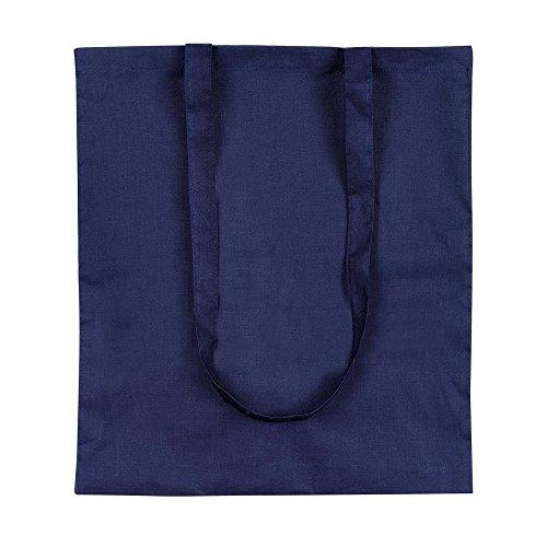 eBuyGB confezione da dieci 100% 4oz cotone Shopping Tote borse a tracolla (marrone) Blu