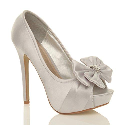 Ajvani Femmes soirée élégant nœud talon haut bout ouvert chaussures plateforme pointure Satin argent