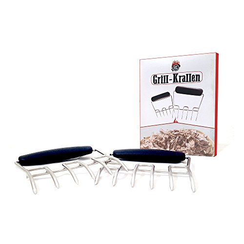 """GrillTime """"Grill-Krallen"""" - Hochwertige Edelstahl Fleisch-Klauen, Fleischgabeln ideal für Pulled Pork, Beef, Chicken, Grill, BBQ und das Servieren von Salaten"""