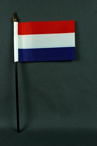 Kleine Tischflagge Niederlande Holland 15x10 cm mit 30 cm Mast aus PVC-Rohr, ohne Ständerfuß (Holland 30)