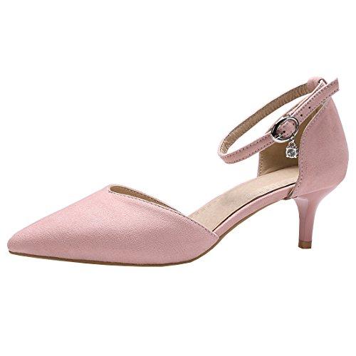Artfaerie Damen Pointed Toe Riemchen Sandalen mit Schnalle und Spitze Kleiner Absatz D'orsay Pumps Elegante Schuhe