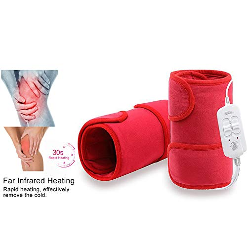 MILKKAR Elektroheizung Kniebandage, Wärmendes Heizkissen Heiße Therapie Zum Knieverletzung, Rheuma, Krämpfe Arthritis Wiederherstellung Schmerzen (2pair) Red