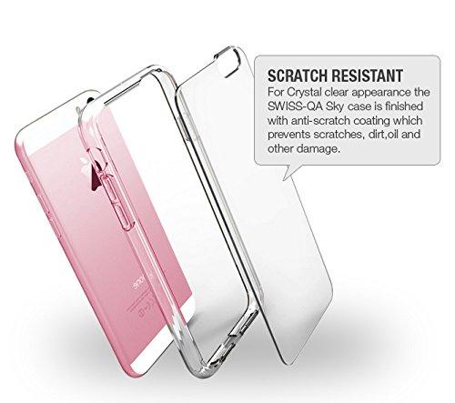 iPhone 6 Cover Case Protettiva - Trasparente - Azzurro - SILICONE - TPU - antiurto, Antigraffio - By SWISS-QA (iPhone 6 6S 4.7) Cover & Vetro Temperato - SILICONE - Antipolvere Antigraffi