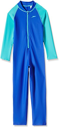 Speedo Tots Swimwear Color Block All-in-1 Suit (804886A746_Deep Peri and Bali Blue_01Y)