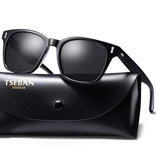 TSEBAN Retro Polarisierte Herren Sonnenbrille 100% UV400 Schutz Outdoor Brille für Fahren Golf Angeln, Acetat Rahmen (Rahmen: Schwarz; Linsen: Schwarz)