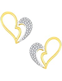 VK Jewels Love Heart Gold And Rhodium Plated Alloy CZ American Diamond Stud Earrings For Women [VKER1763G]