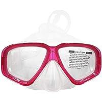 bvnmghjbmghj AM-308 Adulto Doble Capa Impermeable Anti-vaho Transparente Silicona Área Grande Máscara de Buceo Gafas Accesorios de natación - Rosa Roja