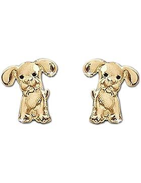 CLEVER SCHMUCK Goldene kleine Ohrstecker Mini Hund 6 mm mit schwarzen Augen matt und glänzend für Kinder 333 Gold...