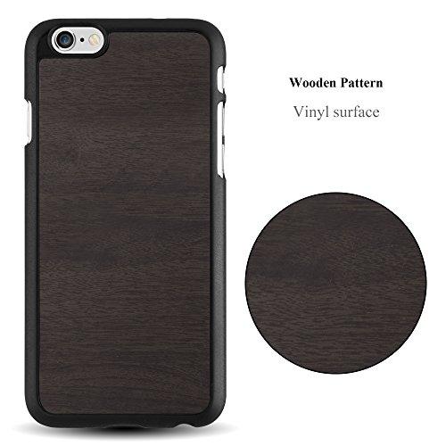 Cadorabo - Hard Cover Slim Case Design BOIS Coque Gel (silicone) pour Apple iPhone 6 / 6S - Housse Case Cover Bumper en WODDY-NOIR WOODY-NOIR