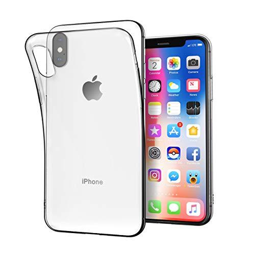 Angelcare iPhone X Hülle, iPhone XS Hülle, Kompatibel mit 5.8'' iPhone X/XS, Crystal Clear TPU Soft Flex Silikon Transparent Dünn Bumper-Style Handyhülle Premium Kratzfest Durchsichtige Schutzhülle