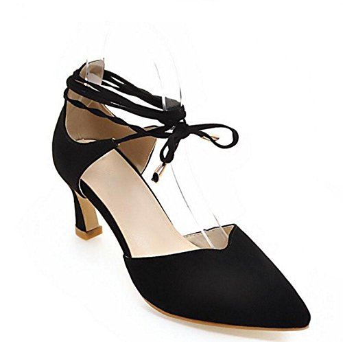 SHIXR Frauen Closed-Toe Pumps Straps High Heels Baotou Wildleder Schuhe Court Schuhe Sandalen Black