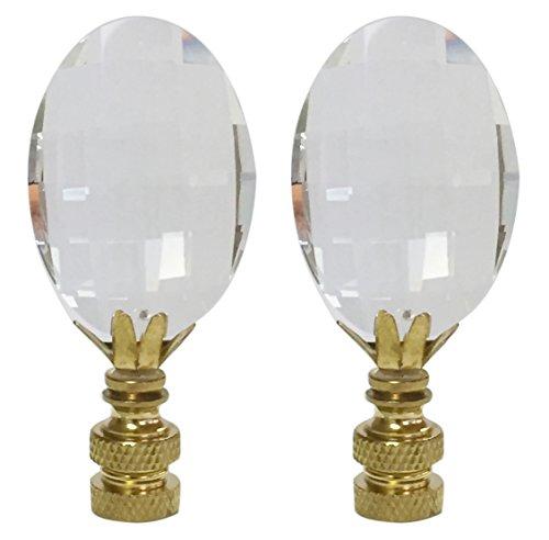 Oval Basis Lampe (Royal Designs Oval Cut Kristalls Lampe Kreuzblume Basis Messing poliert Set of 2)