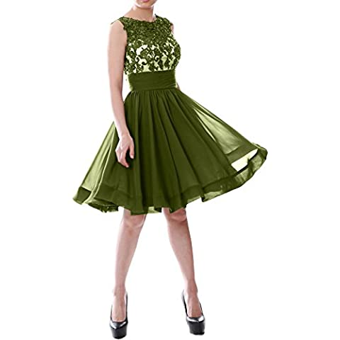 MACloth Women Beaded Lace Chiffon Short Prom Formal Dress Cocktail Party Gown (EU46, Verde Oliva)