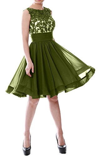 MACloth Women Beaded Lace Chiffon Short Prom Formal Dress Cocktail Party Gown Olive Green