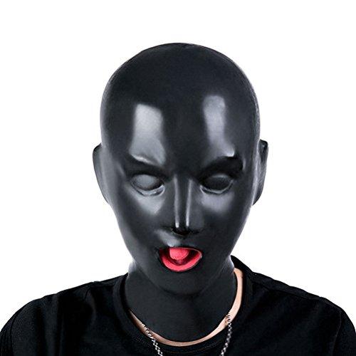 Halloween Gesicht Reißverschluss Kostüm Voller - LUOEM Volles Gesicht Augenbinde Maske Atmungs Offenen Augen Mund Gesicht Abdeckung Maske Erwachsene Cosplay Hood Unisex Kopfbedeckungen (Schwarz)