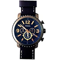 Fossil Vintage Men'S Blue Dial Leather Band Watch Bq2102, Quartz, Analog
