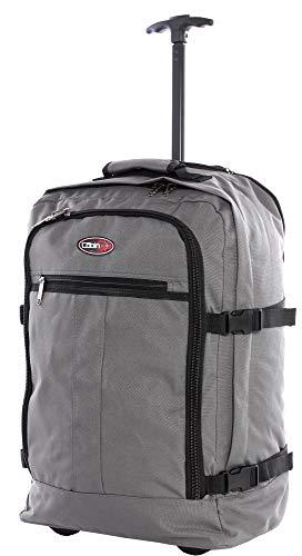 CABIN GO cod. MAX 5520 trolley - Zaino bagaglio a mano/cabina da viaggio leggero. - 55 x 40 x 20 cm, 44 litri - con ruote. Approvato volo IATA/EasyJet/Ryanair, Grigio-Nero