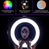Rollei Lumen LED-Ringlicht | 90W RGB LED Ring-Leuchte für Make-Up, Selfie & Foto-Studio | App-Steuerung, 3200K-9999K, Betrieb per Akku & Netzteil
