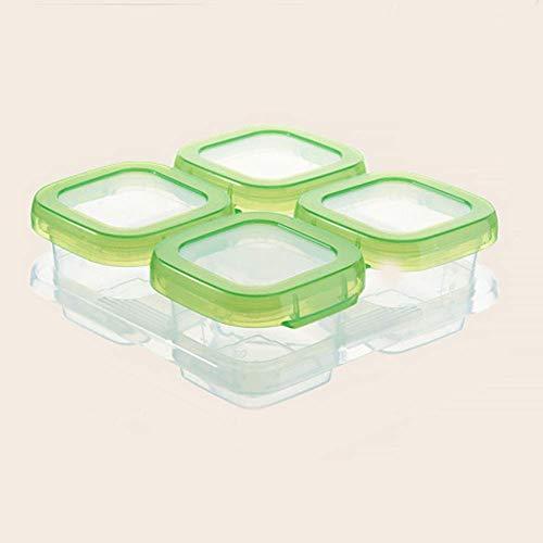 Contenedor Dispensador Snacks Refrigeración Bebé Bloque Portable Comida Almacenaje Seguro Sello Reutilizable Apilable (Cuatro Grids) - Como en la Imagen Show, four grids