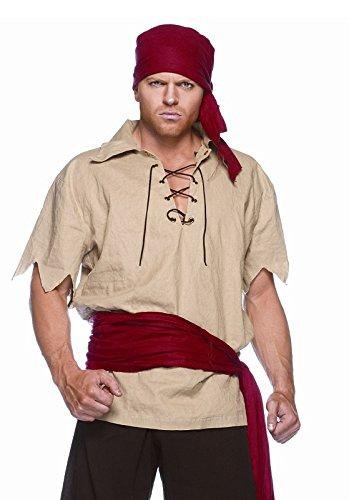 Herren Piraten-Kostüm Jack 52/54 Größe L See-Räuber-Verkleidung Fasching Karneval Halloween Bandana Hemd Gürtel Hose Fluch