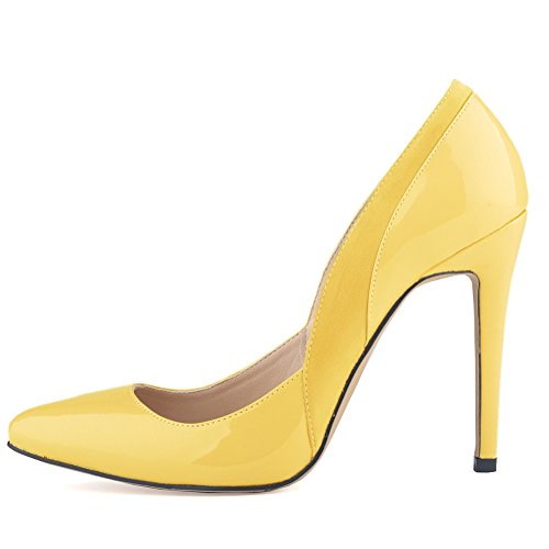 Aisun Damen Sexy Low Top Stiletto Spitz Zehen High Heels Pumps Gelb