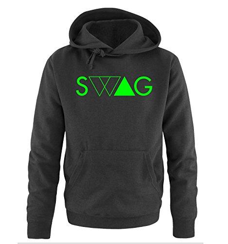 Comedy Shirts - SWAG DELUXE - Uomo Hoodie cappuccio sweater - taglia S-XXL different colors nero / neon verde