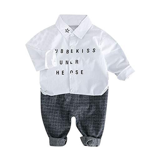 JUTOO 2 Stücke Set Kleinkind Kinder Baby Jungen Gentleman Brief T-Shirt + Plaid Hosen Hosen Outfits Set (Weiß,100/12)