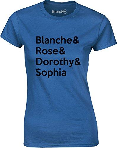 Brand88 - Blanche & Rose & Dorothy & Sophia, Gedruckt Frauen T-Shirt Königsblau/Schwarz