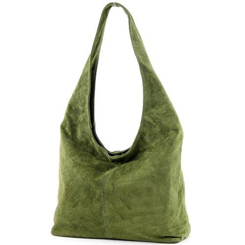 modamoda de - ital Schultertasche aus Leder Wildleder T150, Präzise Farbe:Olivgrün