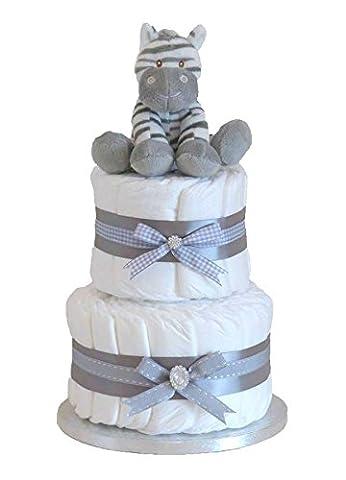 Signature 2étages Gris/gâteau de couches Unisexe Bébé Panier/Cadeau bébé/Cadeau de